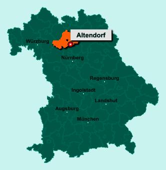 Die Karte von Altendorf zeigt die Lage im Landkreis Bamberg - Der Ort 96146 Altendorf liegt im Bundesland Bayern