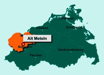 Der Lageplan von 19069 Alt Meteln zeigt die Position im Landkreis Nordwestmecklenburg - Der Ort liegt im Bundesland Mecklenburg-Vorpommern
