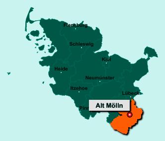 Der Lageplan von 23881 Alt Mölln zeigt die Position im Kreis Herzogtum Lauenburg - Der Ort liegt im Bundesland Schleswig-Holstein