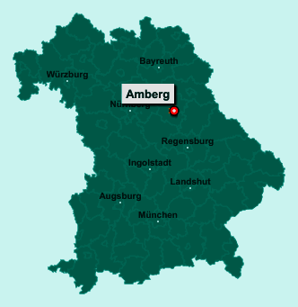 Der Lageplan von Amberg zeigt die Position im Bundesland Bayern - Dieser Ort ist eine kreisfreie Stadt