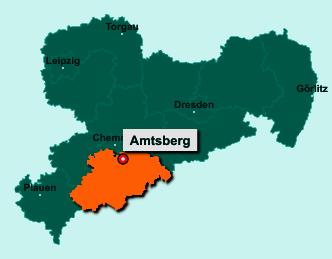 Der Lageplan von 09439 Amtsberg zeigt die Position im Erzgebirgskreis - Der Ort liegt im Bundesland Sachsen