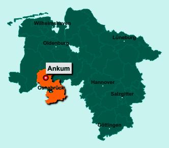 Die Karte von Ankum zeigt die Lage im Landkreis Osnabrück - Der Ort 49577 Ankum liegt im Bundesland Niedersachsen