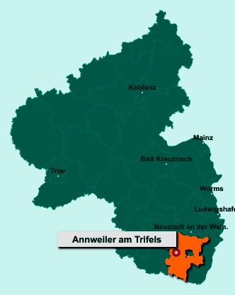 Die Karte von Annweiler am Trifels zeigt die Lage im Landkreis Südliche Weinstraße - Der Ort 76855 Annweiler am Trifels liegt im Bundesland Rheinland-Pfalz