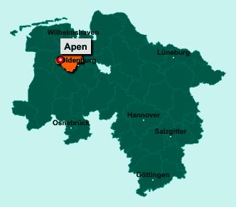 Der Lageplan von 26689 Apen zeigt die Position im Landkreis Ammerland - Der Ort liegt im Bundesland Niedersachsen