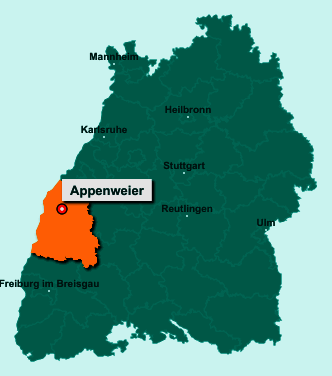 Der Lageplan von 77767 Appenweier zeigt die Position im Ortenaukreis - Der Ort liegt im Bundesland Baden-Württemberg