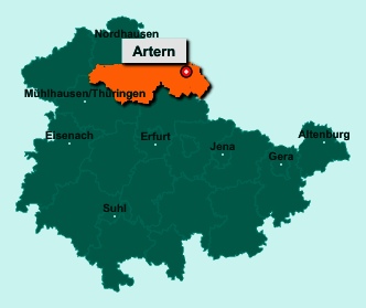 Die Karte von Artern/Unstrut zeigt die Lage im Kyffhäuserkreis - Der Ort 06556 Artern/Unstrut liegt im Bundesland Thüringen
