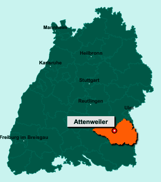 Die Karte von Attenweiler zeigt die Lage im Landkreis Biberach - Der Ort 88448 Attenweiler liegt im Bundesland Baden-Württemberg