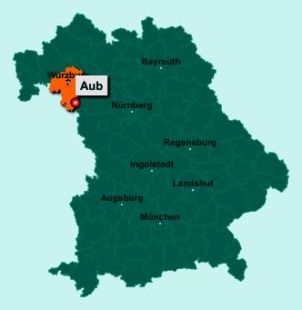Der Lageplan von 97239 Aub zeigt die Position im Landkreis Würzburg - Der Ort liegt im Bundesland Bayern