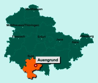 Der Lageplan von 98673 Auengrund zeigt die Position im Landkreis Hildburghausen - Der Ort liegt im Bundesland Thüringen