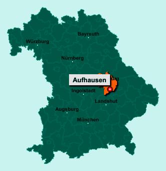 Die Karte von Aufhausen zeigt die Lage im Landkreis Regensburg - Der Ort 93089 Aufhausen liegt im Bundesland Bayern