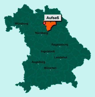 Die Karte von Aufseß zeigt die Lage im Landkreis Bayreuth - Der Ort 91347 Aufseß liegt im Bundesland Bayern