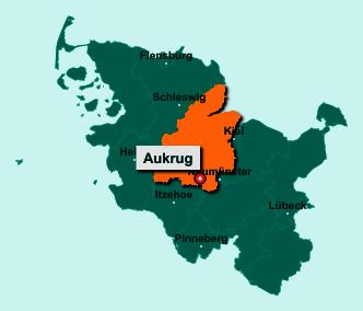 Der Lageplan von 24613 Aukrug zeigt die Position im Kreis Rendsburg-Eckernförde - Der Ort liegt im Bundesland Schleswig-Holstein