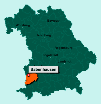 Der Lageplan von 87727 Babenhausen zeigt die Position im Landkreis Unterallgäu - Der Ort liegt im Bundesland Bayern