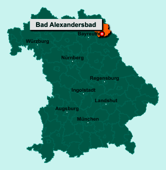 Die Karte von Bad Alexandersbad zeigt die Lage im Landkreis Wunsiedel im Fichtelgebirge - Der Ort 95680 Bad Alexandersbad liegt im Bundesland Bayern