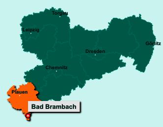 Die Karte von Bad Brambach zeigt die Lage im Vogtlandkreis - Der Ort 08648 Bad Brambach liegt im Bundesland Sachsen