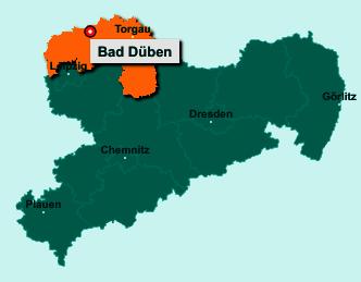 Der Lageplan von 04849 Bad Düben zeigt die Position im Landkreis Nordsachsen - Der Ort liegt im Bundesland Sachsen