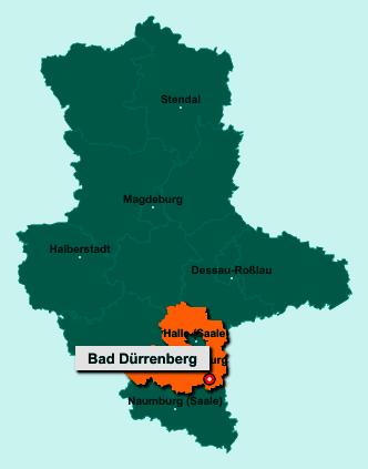 Der Lageplan von 06231 Bad Dürrenberg zeigt die Position im Saalekreis - Der Ort liegt im Bundesland Sachsen-Anhalt