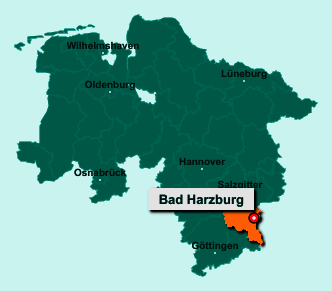 Der Lageplan von 38667 Bad Harzburg zeigt die Position im Landkreis Goslar - Der Ort liegt im Bundesland Niedersachsen