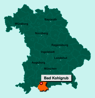 Die Karte von Bad Kohlgrub zeigt die Lage im Landkreis Garmisch-Partenkirchen - Der Ort 82433 Bad Kohlgrub liegt im Bundesland Bayern