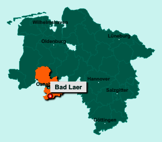 Der Lageplan von 49196 Bad Laer zeigt die Position im Landkreis Osnabrück - Der Ort liegt im Bundesland Niedersachsen