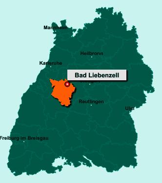 Der Lageplan von 75378 Bad Liebenzell zeigt die Position im Landkreis Calw - Der Ort liegt im Bundesland Baden-Württemberg