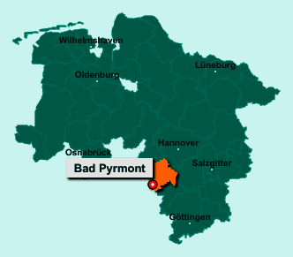 Die Karte von Bad Pyrmont zeigt die Lage im Landkreis Hameln-Pyrmont - Der Ort 31812 Bad Pyrmont liegt im Bundesland Niedersachsen
