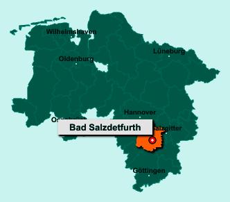 Der Lageplan von 31162 Bad Salzdetfurth zeigt die Position im Landkreis Hildesheim - Der Ort liegt im Bundesland Niedersachsen