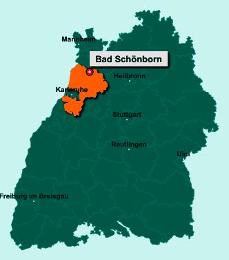 Die Karte von Bad Schönborn zeigt die Lage im Landkreis Karlsruhe - Der Ort 76669 Bad Schönborn liegt im Bundesland Baden-Württemberg
