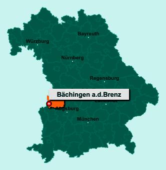 Der Lageplan von 89431 Bächingen a.d.Brenz zeigt die Position im Landkreis Dillingen an der Donau - Der Ort liegt im Bundesland Bayern