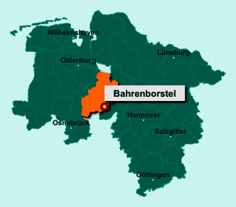 Die Karte von Bahrenborstel zeigt die Lage im Landkreis Diepholz - Der Ort 27245 Bahrenborstel liegt im Bundesland Niedersachsen