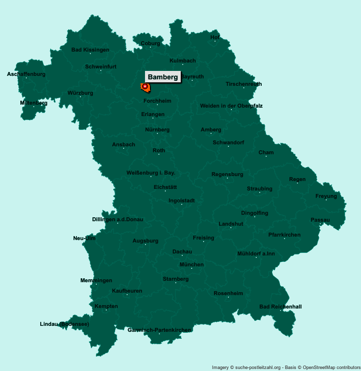 Karte Bamberg.Postleitzahl Bamberg