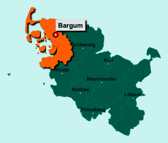 Die Karte von Bargum zeigt die Lage im Kreis Nordfriesland - Der Ort 25842 Bargum liegt im Bundesland Schleswig-Holstein