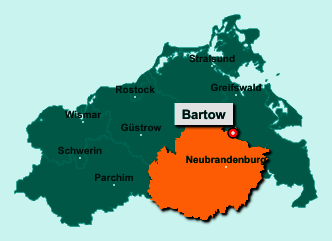 Die Karte von Bartow zeigt die Lage im Landkreis Mecklenburgische Seenplatte - Der Ort 17089 Bartow liegt im Bundesland Mecklenburg-Vorpommern