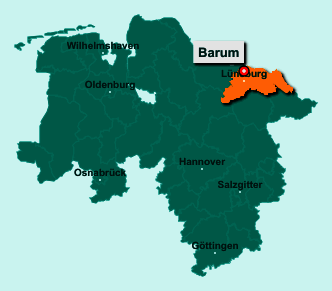 Der Lageplan von 21357 Barum zeigt die Position im Landkreis Lüneburg - Der Ort liegt im Bundesland Niedersachsen