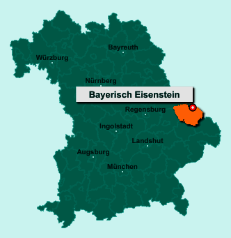 Die Karte von Bayerisch Eisenstein zeigt die Lage im Landkreis Regen - Der Ort 94252 Bayerisch Eisenstein liegt im Bundesland Bayern