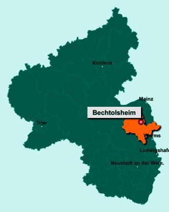 Der Lageplan von 55234 Bechtolsheim zeigt die Position im Landkreis Alzey-Worms - Der Ort liegt im Bundesland Rheinland-Pfalz