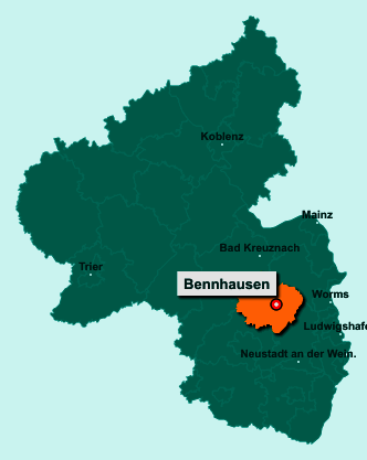 Die Karte von Bennhausen zeigt die Lage im Donnersbergkreis - Der Ort 67808 Bennhausen liegt im Bundesland Rheinland-Pfalz