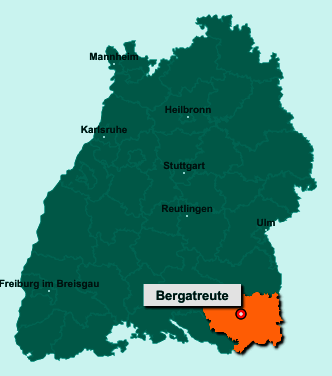 Die Karte von Bergatreute zeigt die Lage im Landkreis Ravensburg - Der Ort 88368 Bergatreute liegt im Bundesland Baden-Württemberg