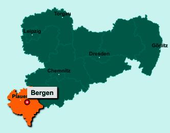 Der Lageplan von 08239 Bergen zeigt die Position im Vogtlandkreis - Der Ort liegt im Bundesland Sachsen