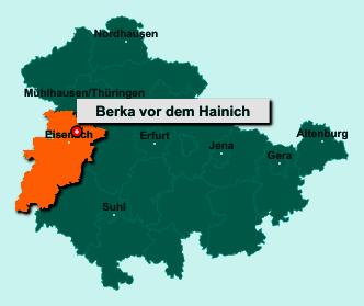 Die Karte von Berka vor dem Hainich zeigt die Lage im Wartburgkreis - Der Ort 99826 Berka vor dem Hainich liegt im Bundesland Thüringen