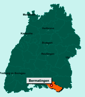 Die Karte von Bermatingen zeigt die Lage im Bodenseekreis - Der Ort 88697 Bermatingen liegt im Bundesland Baden-Württemberg
