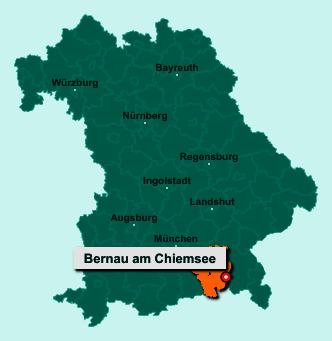 Die Karte von Bernau am Chiemsee zeigt die Lage im Landkreis Rosenheim - Der Ort 83233 Bernau am Chiemsee liegt im Bundesland Bayern