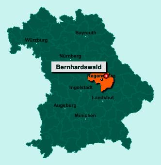 Der Lageplan von 93170 Bernhardswald zeigt die Position im Landkreis Regensburg - Der Ort liegt im Bundesland Bayern