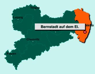 Die Karte von Bernstadt auf dem Eigen zeigt die Lage im Landkreis Görlitz - Der Ort 02748 Bernstadt auf dem Eigen liegt im Bundesland Sachsen