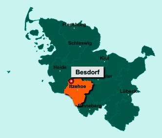 Der Lageplan von 25584 Besdorf zeigt die Position im Kreis Steinburg - Der Ort liegt im Bundesland Schleswig-Holstein