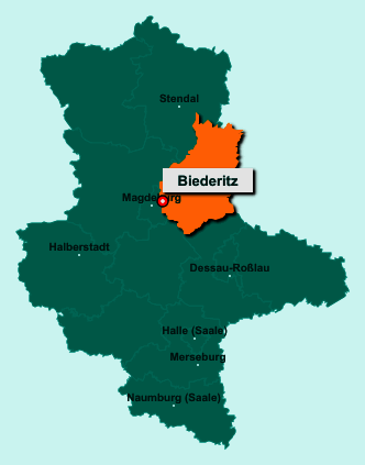 Die Karte von Biederitz zeigt die Lage im Landkreis Jerichower Land - Der Ort 39175 Biederitz liegt im Bundesland Sachsen-Anhalt
