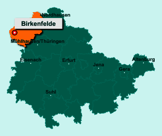 Die Karte von Birkenfelde zeigt die Lage im Landkreis Eichsfeld - Der Ort 37318 Birkenfelde liegt im Bundesland Thüringen