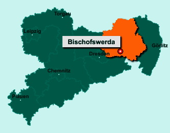 Der Lageplan von 01877 Bischofswerda zeigt die Position im Landkreis Bautzen - Der Ort liegt im Bundesland Sachsen