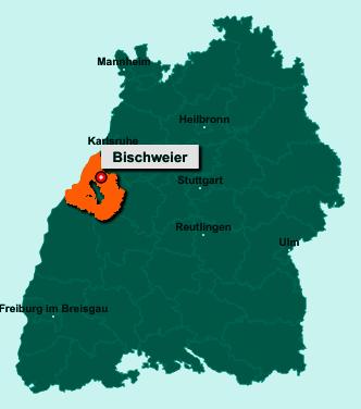 Die Karte von Bischweier zeigt die Lage im Landkreis Rastatt - Der Ort 76476 Bischweier liegt im Bundesland Baden-Württemberg