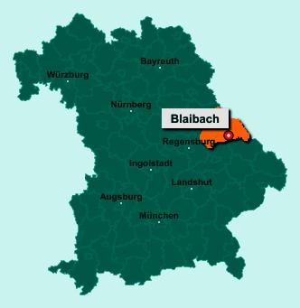 Die Karte von Blaibach zeigt die Lage im Landkreis Cham - Der Ort 93476 Blaibach liegt im Bundesland Bayern